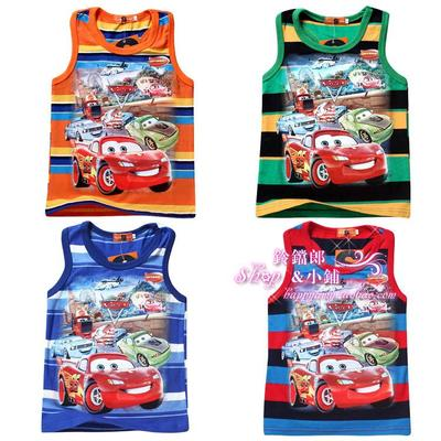Clearance Summer Kids Boys Stripe Cotton Tongue McQueen Car Children Boys Sleeveless T-shirt Vest 642