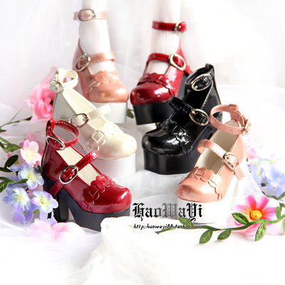 taobao agent BJD doll shoes dolls with small shoes 3 points 4 points girl thick heel high-heeled shoes red, black and white pink spot