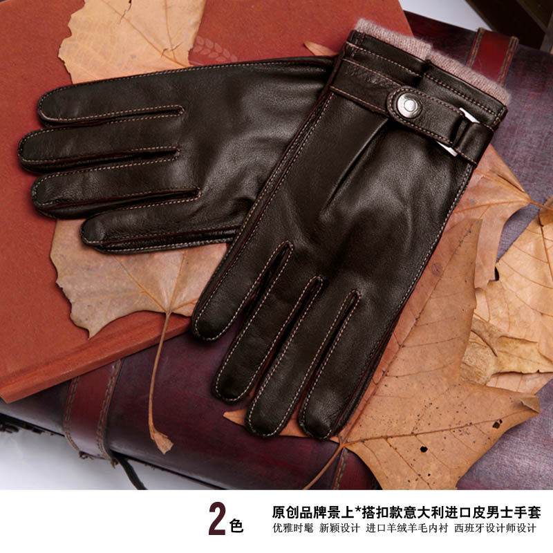 Перчатки 2015 зима Испания роскошные импортные кожаные перчатки итальянские теплые овечьей шкуре мужская с кашемиром, трикотажная подкладка