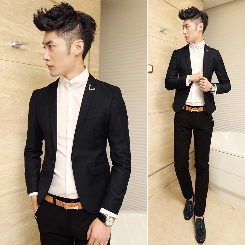 青少年衣服春装衬衫男长袖修身打底白色衬衣印花韩版男士寸衫潮流
