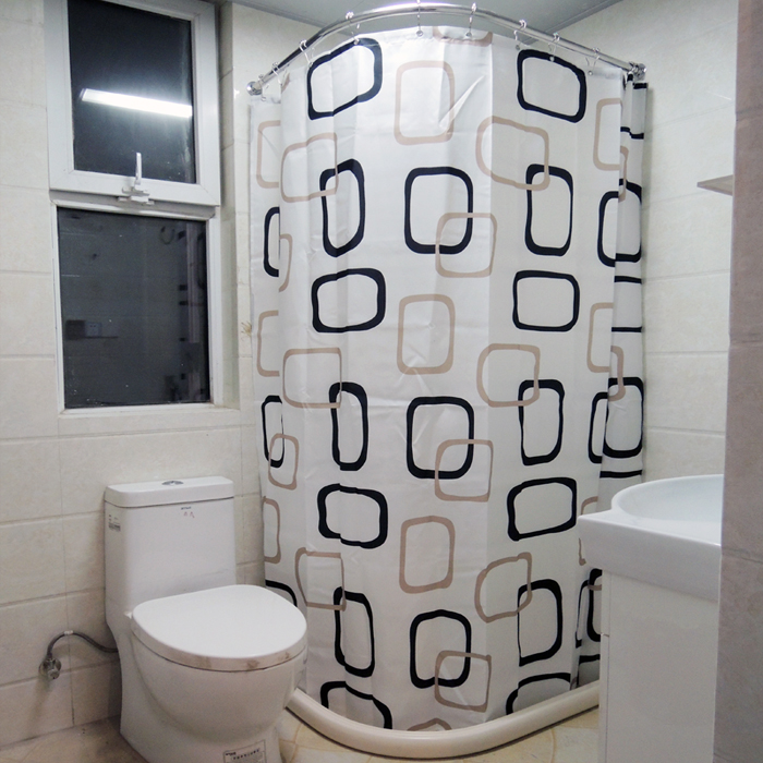 Free Punch Bathroom Shower Curtain Set Curved Rod