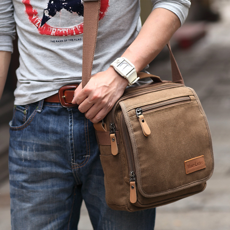 39c4cccf4d88 Moore Kaden new men's shoulder bag casual men's bag Ipad bag male canvas  diagonal portable fashion bag