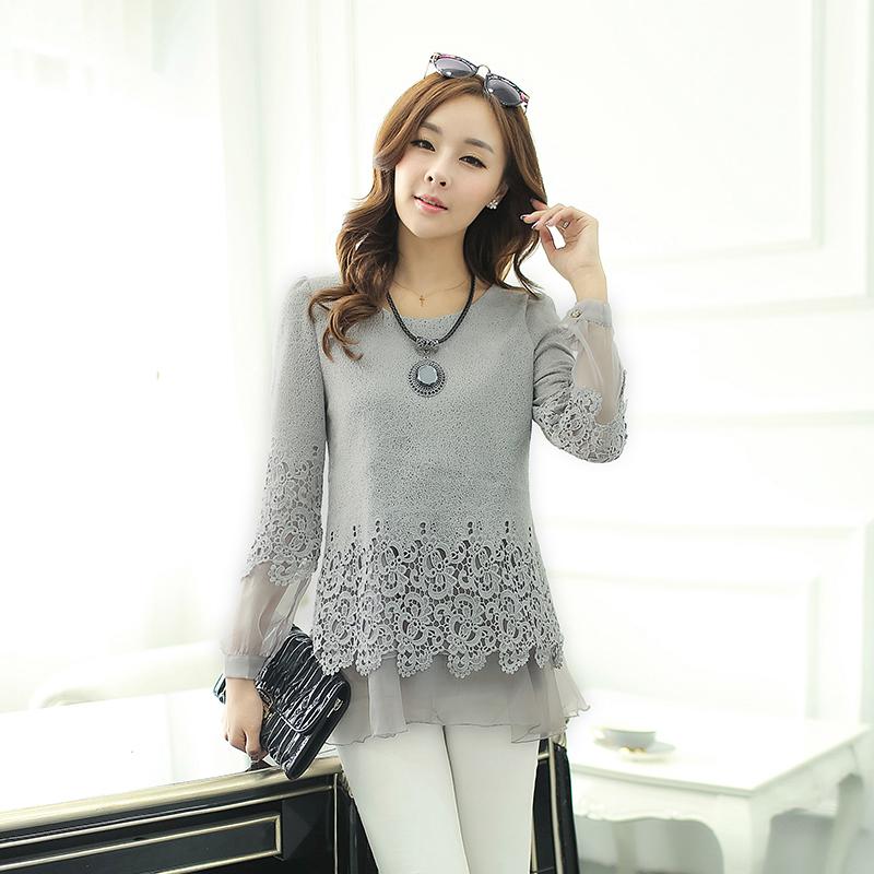 2014长袖新款韩版修身打底蕾丝衫上衣雪纺女中长款a长袖拼接春装衫
