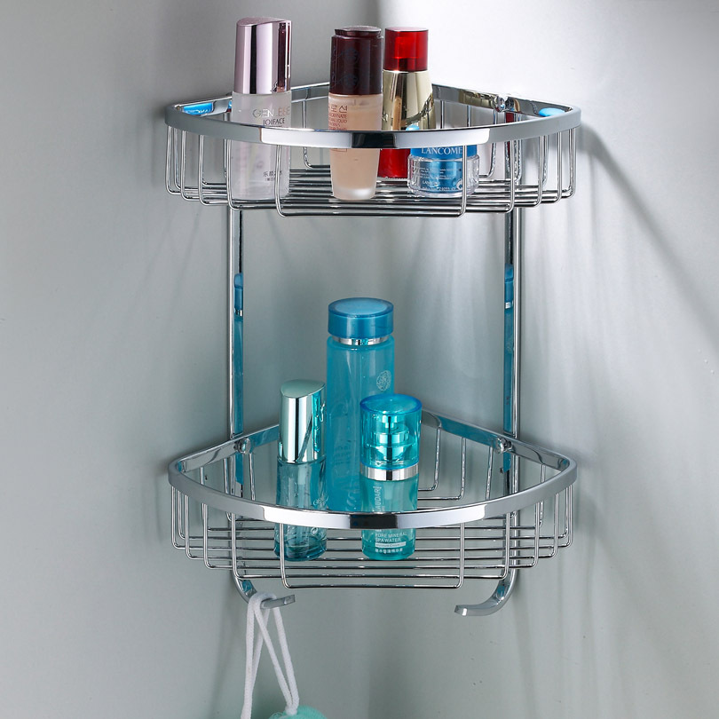 304 Stainless Steel Triangle Basket Double Angle Bathroom Corner Rack