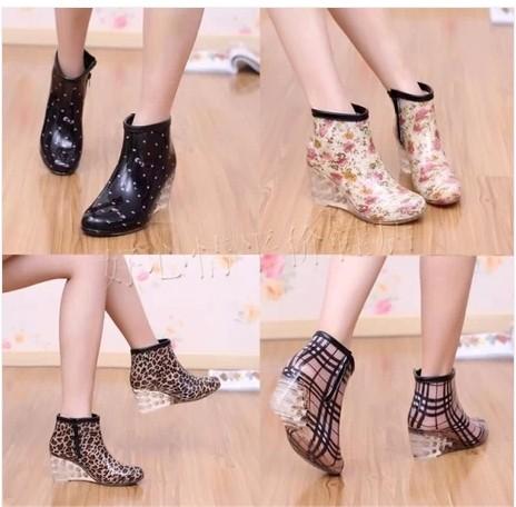 高跟水鞋短筒坡跟水靴外穿韩国加绒女士套鞋雨鞋可爱防水雨靴胶鞋