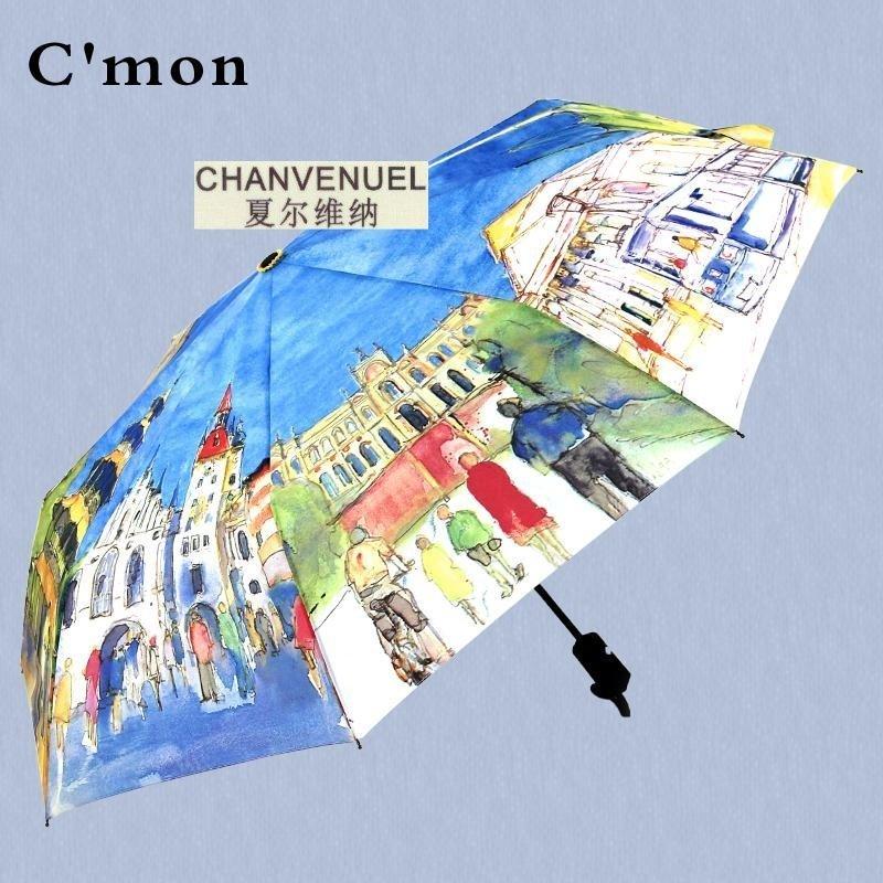 蓝雨伞男长柄创意油画伞三折伞双层伞防�鹛�阳伞晴雨伞折叠女韩国