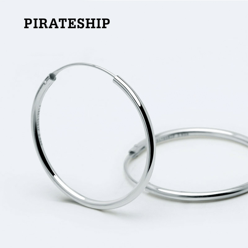 Pirate Ship 925 Silver Simple Plain Earrings Female Personality Circle Temperament Fashion