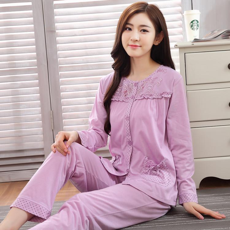韩版睡衣女秋长袖纯棉甜美棉绸公主可爱蕾丝套装春秋季薄款家居服