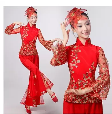 New Yangko costumes women's dance costumes costumes national stage costumes waist drum fan dance clothing