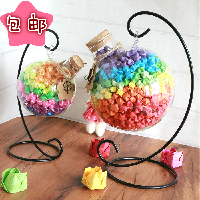 Iron Hook Wishing Star Bottle Lucky Origami Home Creative Jewelry Gift 1000