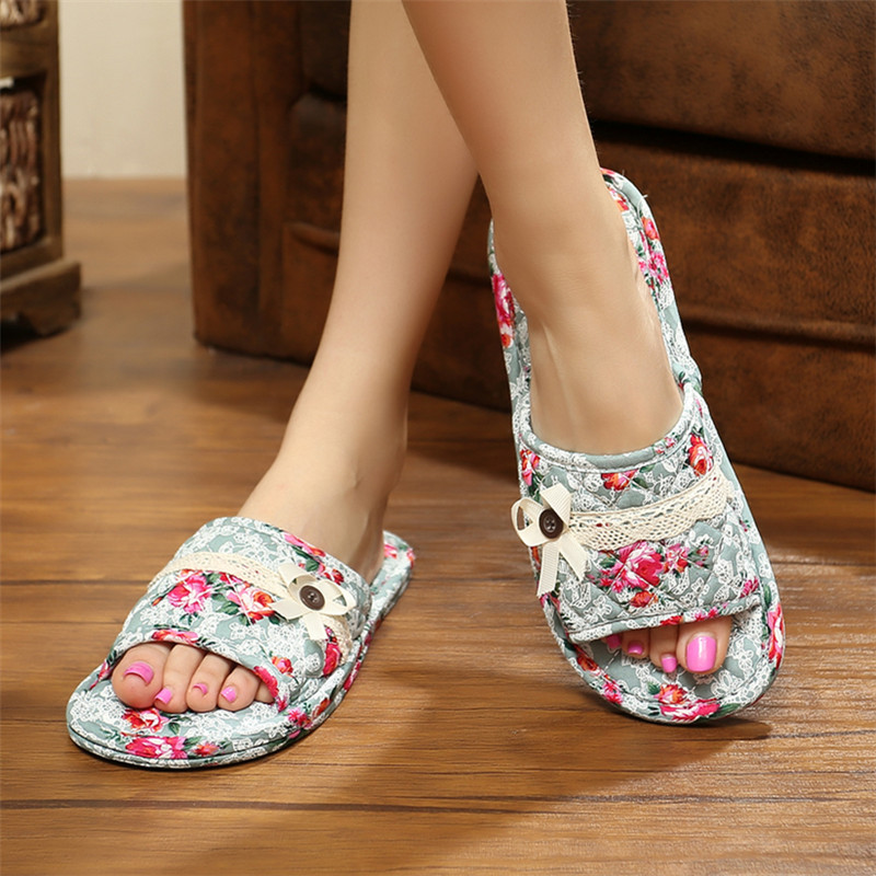情侣春夏季居家室内无声静音纯棉布底软底不伤实木地板拖鞋布艺女
