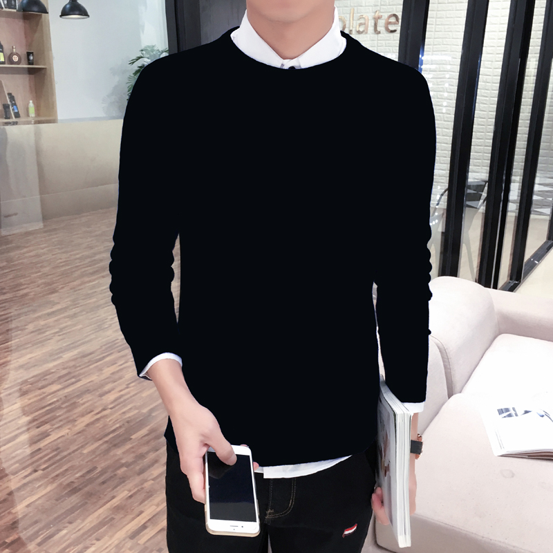 Usd korean version men 39 s sweater slim fit crew for Crew neck sweater with collared shirt