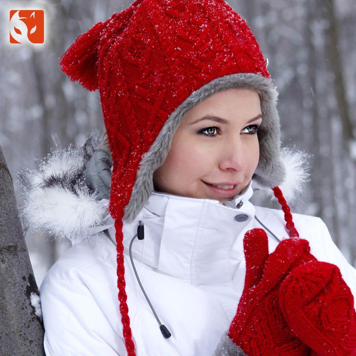 正品快乐狐狸袜套+手套+帽子组合套装超保暖护耳帽针织帽AFC-0630