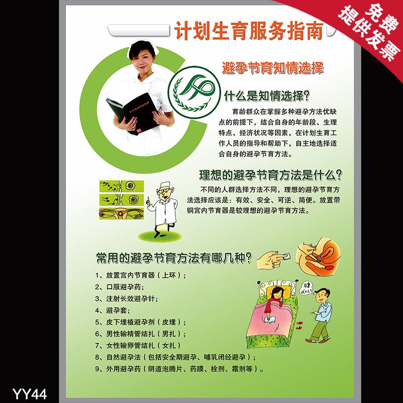 计划生育宣传画 计划生育服务指南避孕节育知情选择 医院挂图海报