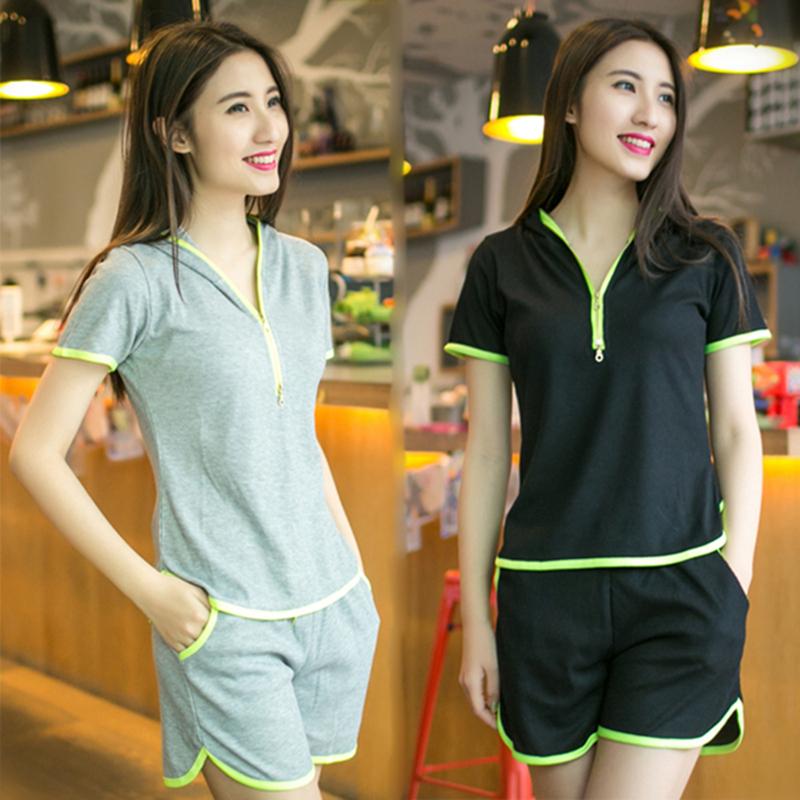 2019件套韩版短裤运动套装女款时尚女士学生卫衣运动服短袖两夏装