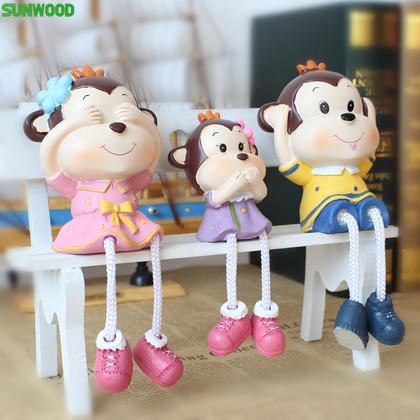 工艺品卡通公仔 搁板摆件三个猴子一家树脂娃娃 儿童玩具家居饰品