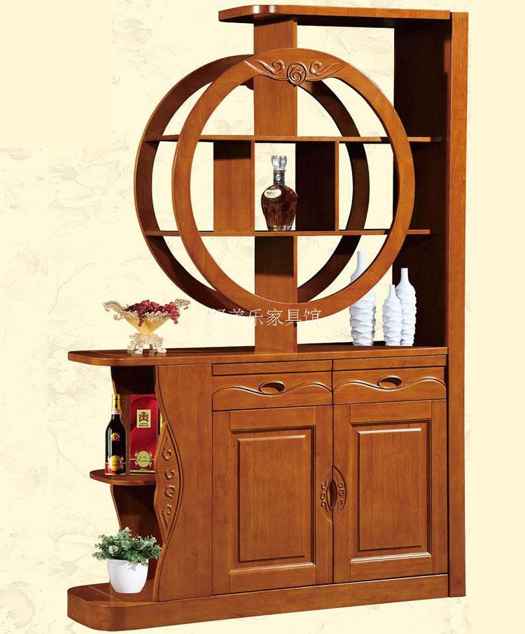 中式实木橡木客厅玄关柜双面间厅酒柜隔断屏风门厅小户型简约现代