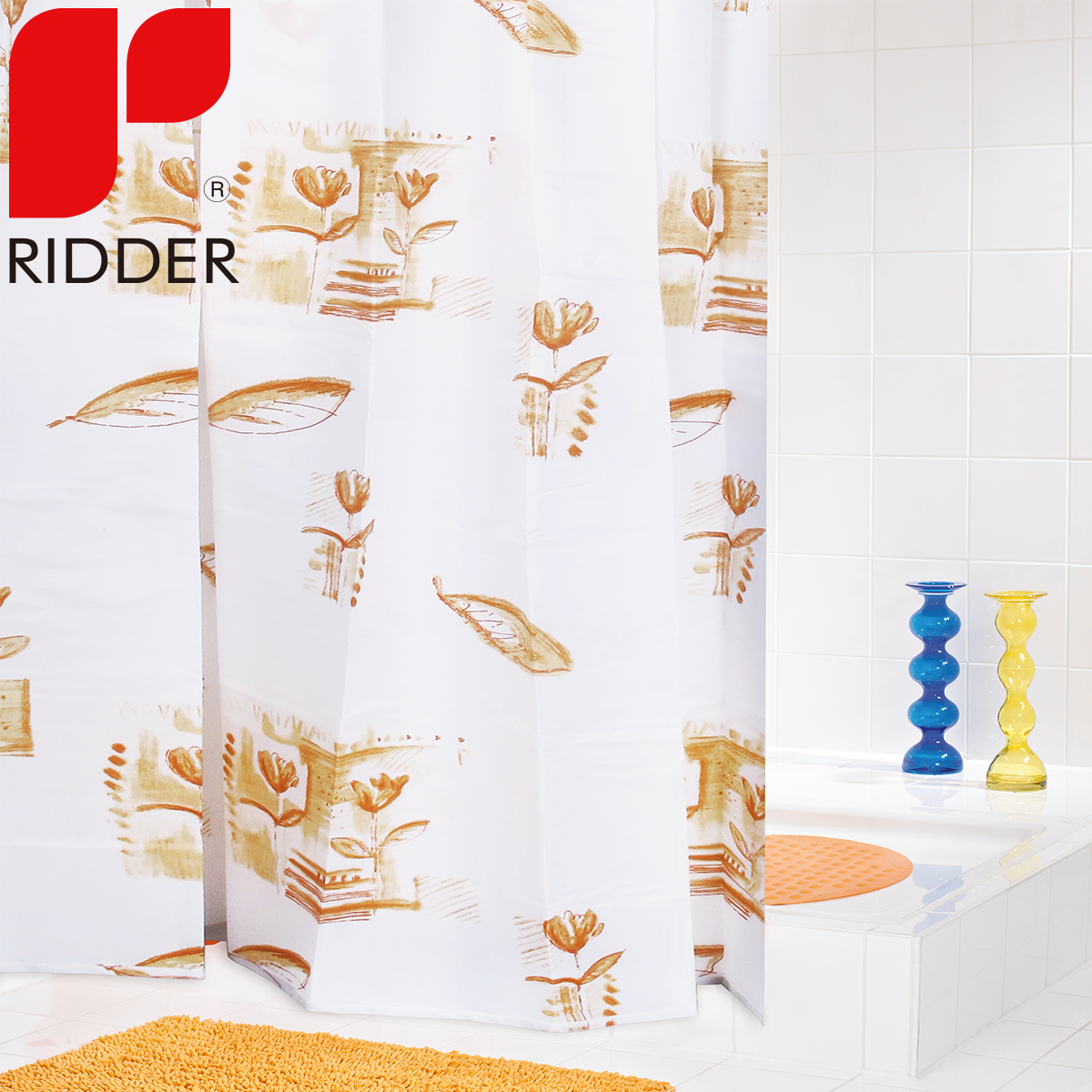 RIDDER Imported European Toilet Polyester Thickened Shower Curtain Waterproof Bathroom