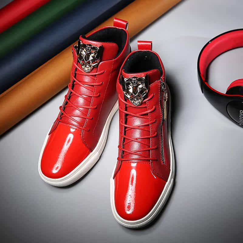 吉普森高帮鞋韩版男鞋男士真皮鞋子潮皮鞋冬季棉鞋红色高邦板鞋男