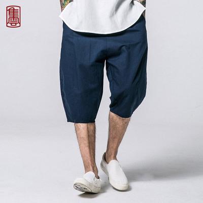 Jiyun quần short vải lanh Trung Quốc phong cách đàn ông của mùa hè lỏng quần chân quần harem quần lớn 衩 bông và quần linen