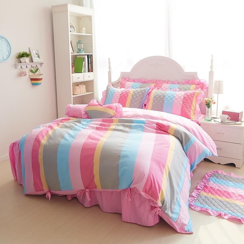 纯棉刺绣花夹棉床笠式床罩花边床裙加棉4件套贡缎蕾丝提花四件套