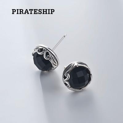 海盗船银饰黑玉髓925银气质耳饰耳环个性耳钉女韩国男士潮男耳坠
