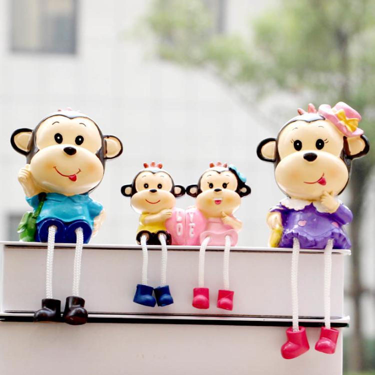 蘑菇堡家居饰品三不猴子树脂娃娃工艺品卡通搁板摆件儿童玩具饰品