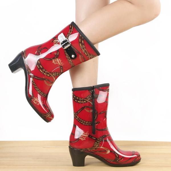 春夏防滑时尚雨靴中筒侧高跟可加绒女拉链女雨鞋鞋套胶鞋水水靴鞋