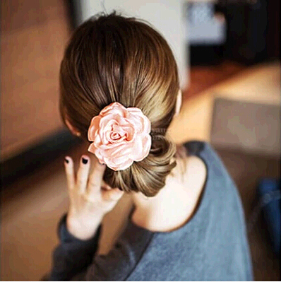 South Korea simulation Flower Headwear Korean version of fabric hair ring rope tie haired sinew head rope head Flower Jewelry