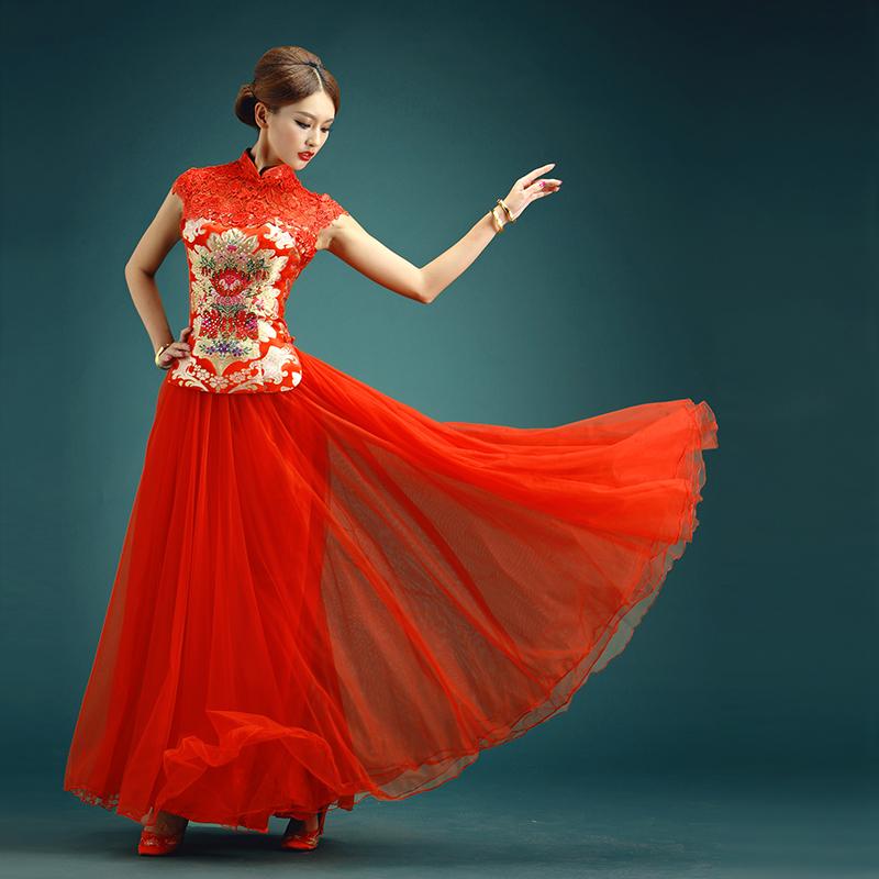 2016新款新娘结婚纱裙礼服 红色长款旗袍秋冬中式时尚改良敬酒服