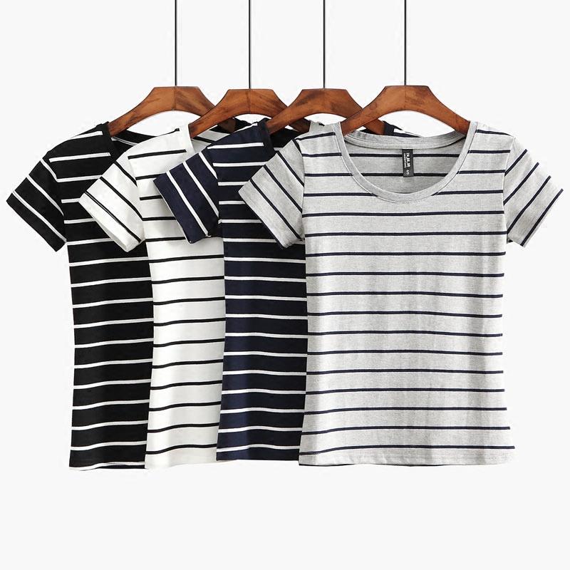 a经典经典短袖韩版夏天横打底女装简约修身上衣T恤棉圆领衫女条纹
