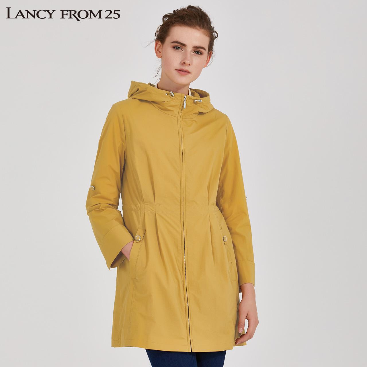 LANCY朗姿秋季女裝簡約時尚腰帶連帽風衣休閑寬松長袖外套