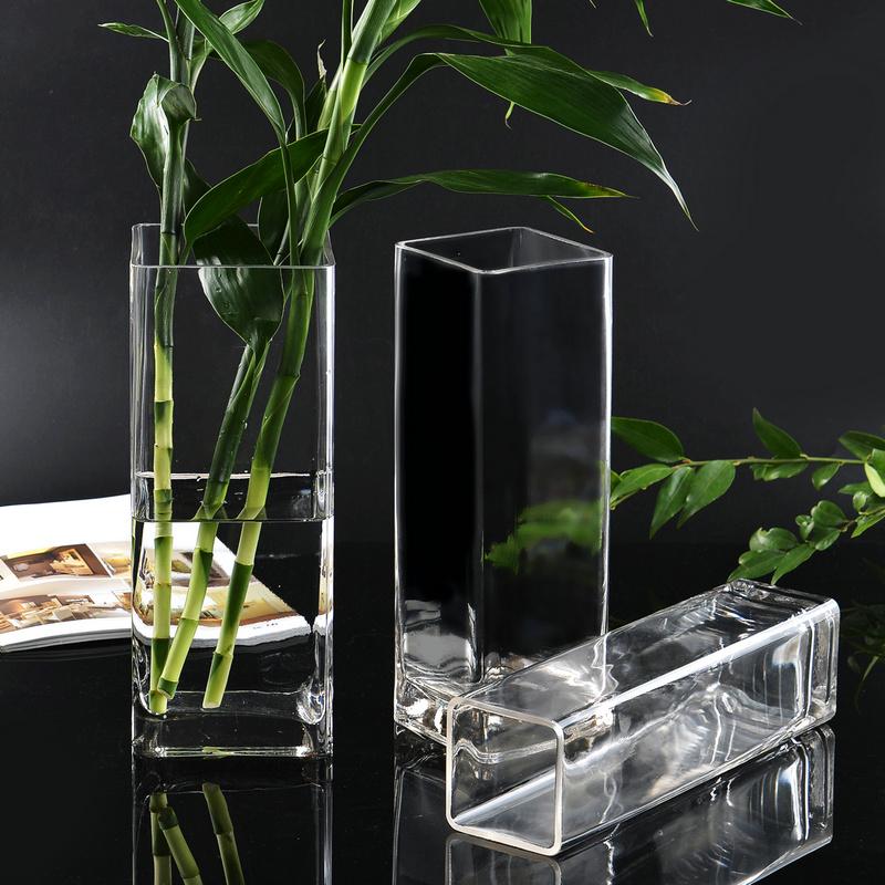 花瓶 玻璃透明方形花器百合富贵竹干花插花四方花瓶摆件客厅落地_领取3元天猫超市优惠券