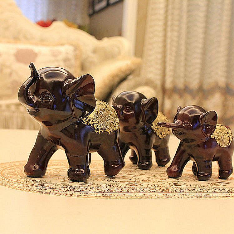 创意结婚礼物一家三口大象 创意实用客厅酒柜电视柜装饰可爱摆件