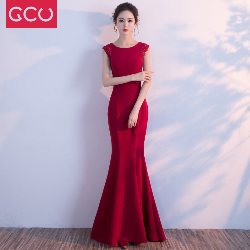 The Bride Wedding Dress 2017 New Red Female Engagement Party Skirt Tail Section