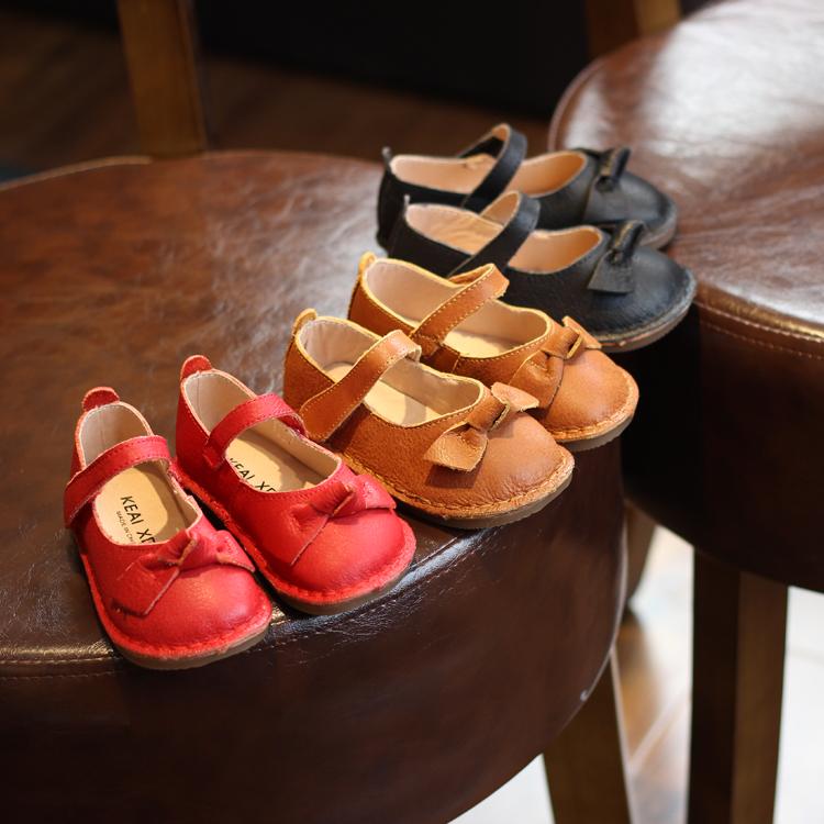 春秋季新款女童皮鞋 1-6岁单鞋真皮软底公主鞋子黑白红色皮鞋软皮