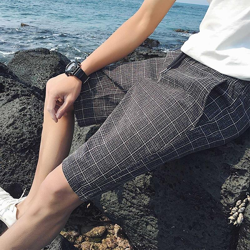 Mùa hè quần short nam phần mỏng Slim kẻ sọc năm điểm quần âu Hàn Quốc phiên bản của các chàng trai xu hướng thời trang cá tính 5 điểm quần