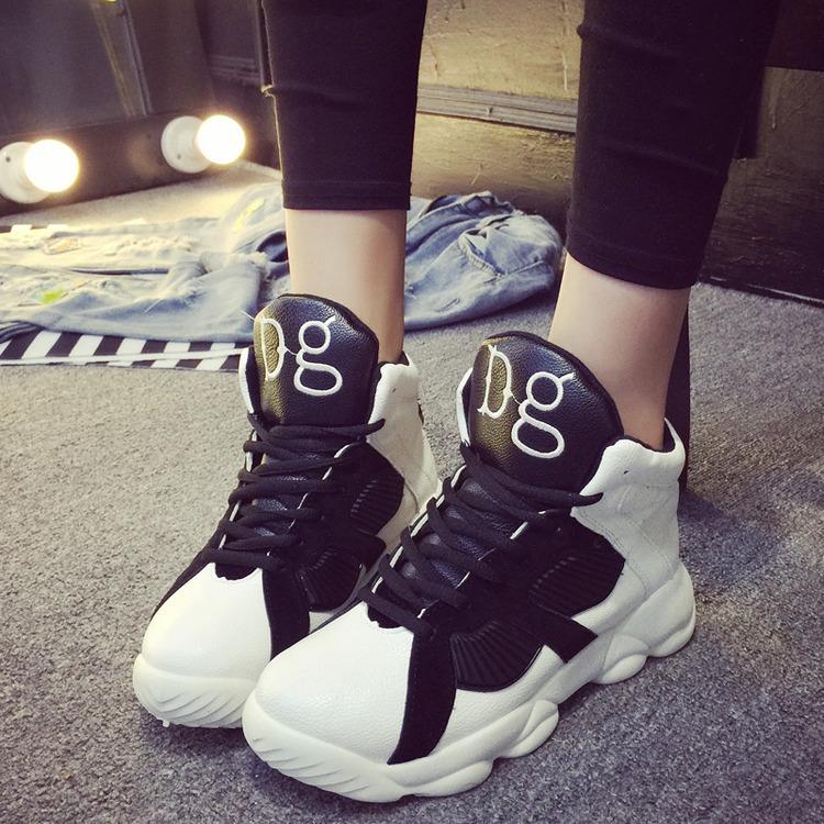 潮鞋2015秋季新款韩版系带平底低帮休闲鞋帖色板鞋单鞋拼色女鞋