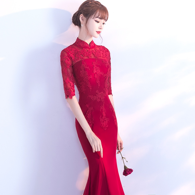 Toast to the bride 2017 new autumn and winter Red Wedding cheongsam tail dress female slim sexy long