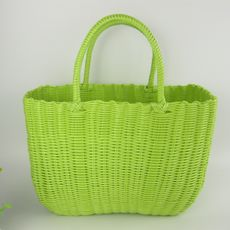 Plastic tube woven portable picnic vegetable basket shopping pet basket bath blue buy cabbage storage basket bath box