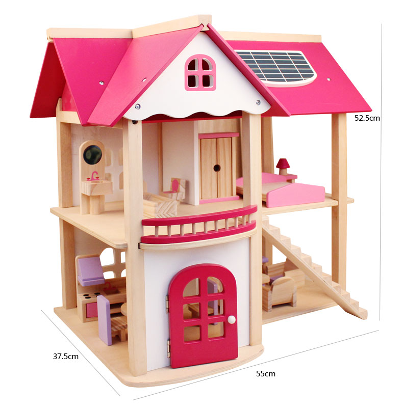 Doll Room Villa Play House Wooden Toy Girl Birthday Gift New 2 3 4 5 6 Years Old