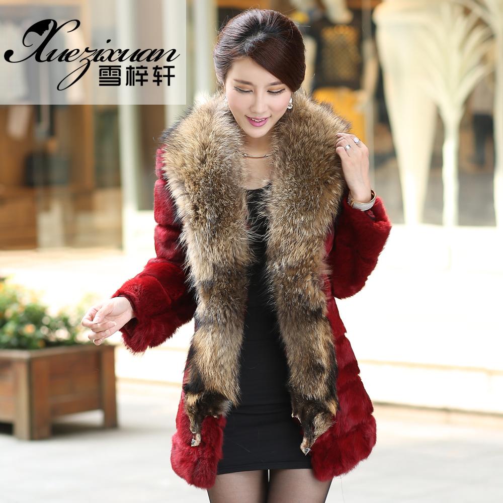 2015新款海宁韩版女装兔毛短款皮草外套七分袖中长款显瘦反季促销