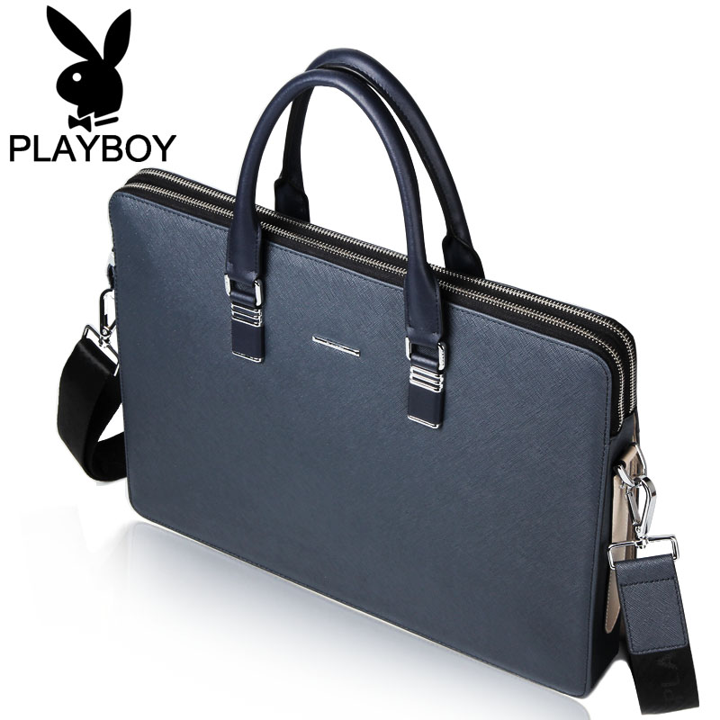 4fdc49fcc4c0 USD 365.91  Playboy men s bag leather briefcase male business bag ...