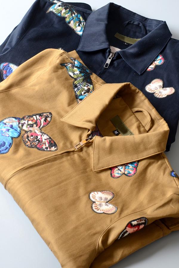 高端定制欧美新款华伦家刺绣满身蝴蝶情侣款男女长款大衣外套夹克