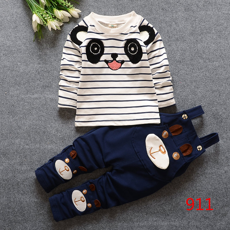 婴儿双层薄背带裤三件套装男女宝宝纯棉连体衣服秋装外出服童服装