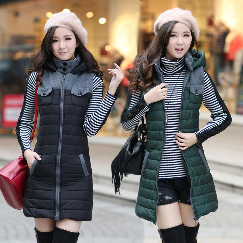 韩版冬季新款无袖开衫毛边圆领纯色东大门加长夹棉马夹棉服马甲女