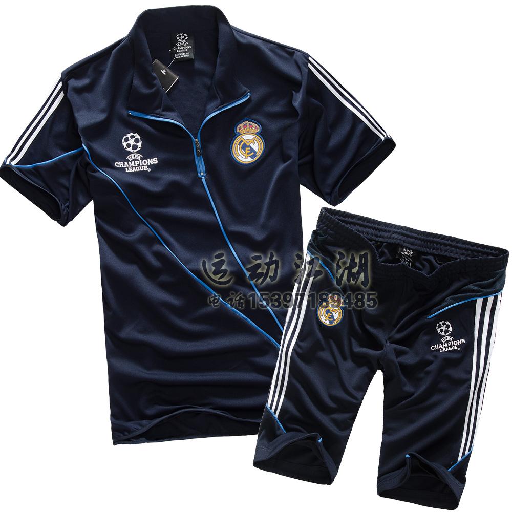 18夏皇马套装欧冠球衣v套装服切尔西足球AC米兰短袖服足球队服男