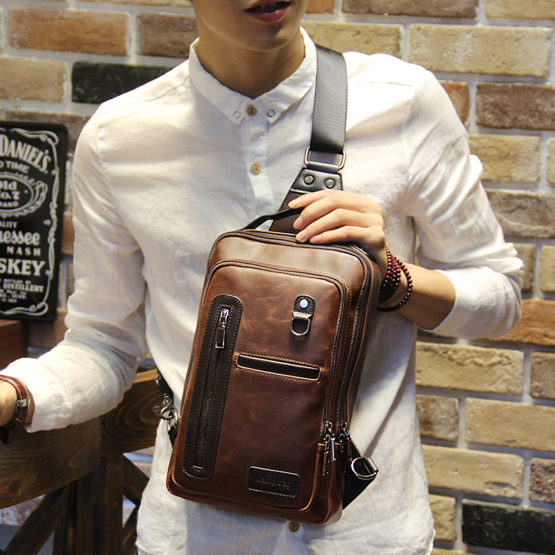 a7c6db964ae4 Men s bag fashion Crazy Horse leather Tide brand big chest bag Korean Tide  men s chest bag small backpack leisure diagonal package large capacity