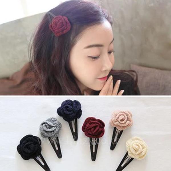 日韩手工布艺bb夹刘海夹花朵发卡韩国发夹子发前夹边图片