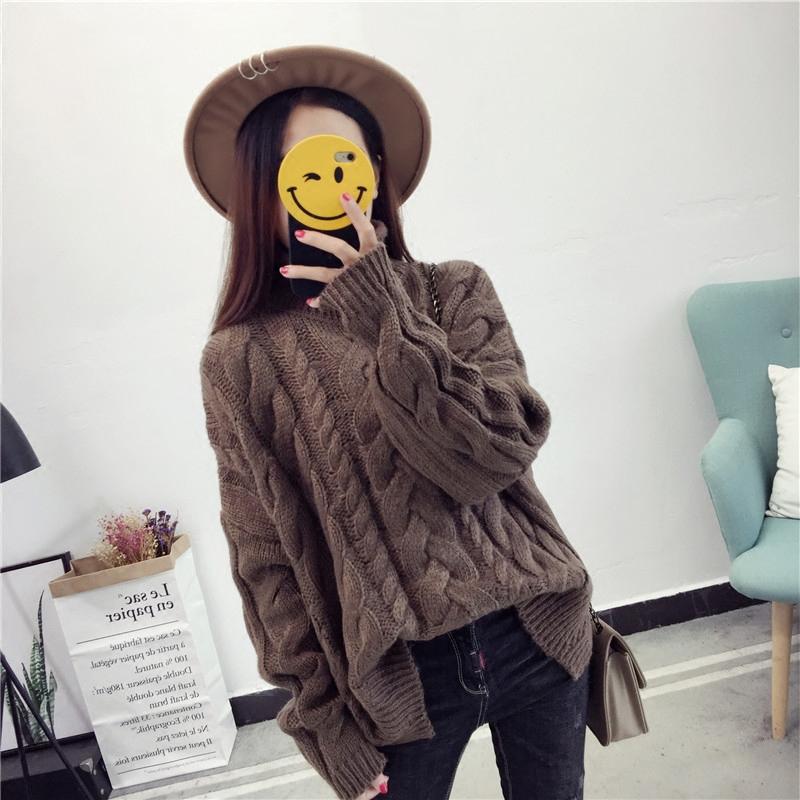 Трикотаж Осень и зима корейской версии свободные водолазка твист свитер женский свитера рукава летучая мышь куртка плюс толстый грубый свитер